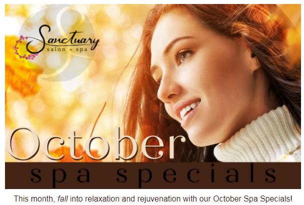 image of October spa specials